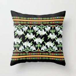 Elizabethan Lily Folkloric Stripe Throw Pillow