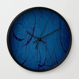 Navy Blue - Jackson Pollock Style Art - Abstract - Expressionism - Corbin Henry Wall Clock