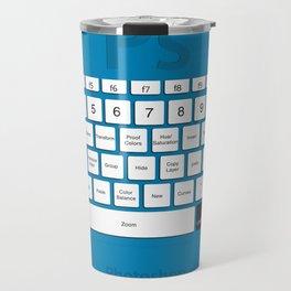 Photoshop Keyboard Shortcuts Blue Cmd Travel Mug