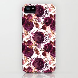 Burgundy pink white watercolor hand painted floral iPhone Case