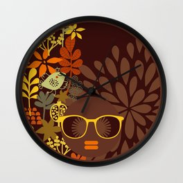 Afro Diva : Sophisticated Lady Retro Brown Wall Clock