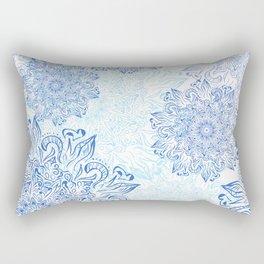 Mandala blue snowflake illustration. Rectangular Pillow