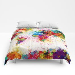 Map of the World Map Paint Splashes Comforters