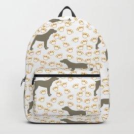 Big Grey Weimaraner Dog and Yellow Paw Prints Backpack