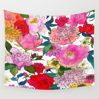 peonies Wall Tapestries featuring Peonies & Roses by Marcella Wylie