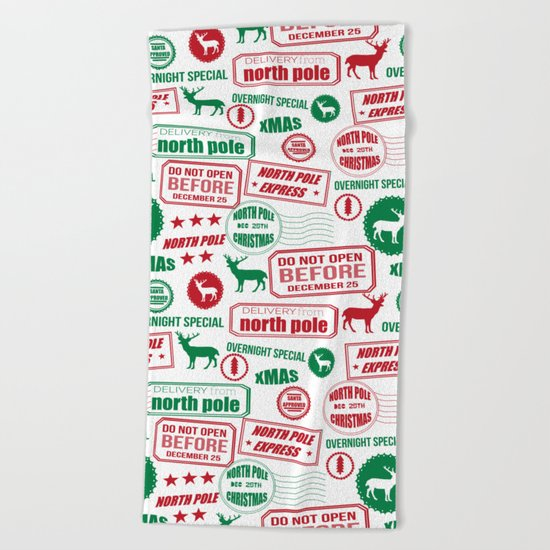 North Pole santa sleigh post office pattern reindeer print xmas holiday gifts decor Beach Towel