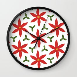 Poinsettia and leaves Wall Clock
