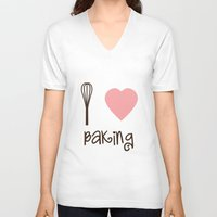 baking V-neck T-shirts featuring I Heart Baking by SweetToothStudio