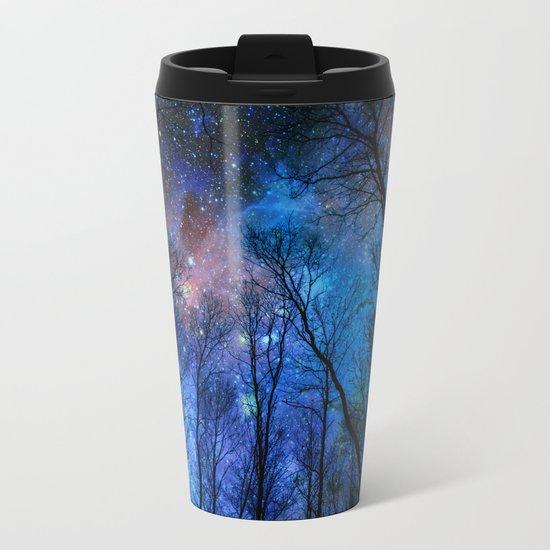 Black Trees Dark Blue Space Metal Travel Mug