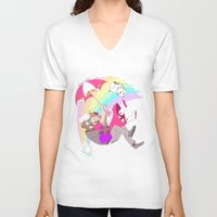 bee and puppycat V-neck T-shirts featuring Puppycat Rainbow Fall by Beta PV