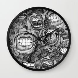 BITE ME roses and orchids BLACK WHITE Wall Clock
