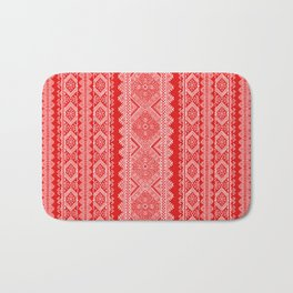 Ukrainian embroidery red and white Bath Mat