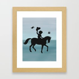 Boy and horse silhouette teal Framed Art Print