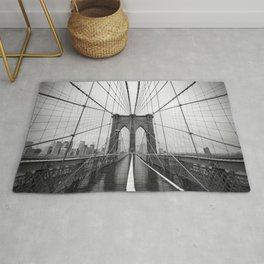 Black and White of Brooklyn Bridge Rug