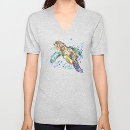 Sea Turtle Pura Vida Watercolor Unisex V-Neck