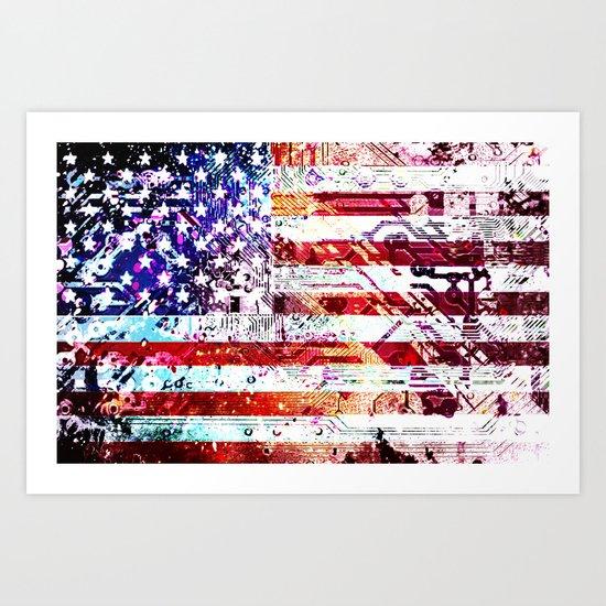 circuit board panel USA Art Print