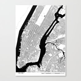 NEW YORK BLACK & WHITE MAP Canvas Print
