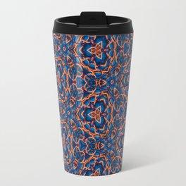 Beautiful Blue and Orange Beadwork Inspired Print Travel Mug