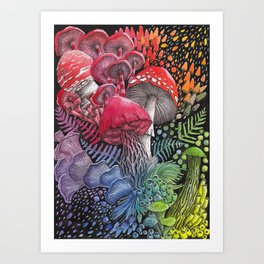 Rainbow Mushroom Composition | Watercolor Illustration Art Print