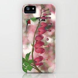 ruby-throated hummingbird on bleeding heart (with bokeh) iPhone Case