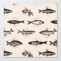 circle Canvas Prints featuring Fishes In Geometrics (Red) by Florent Bodart / Speakerine