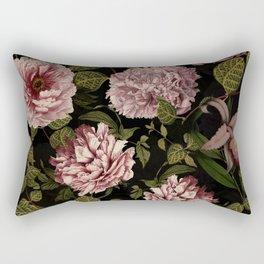 Vintage Exotic Botanical Midnight Peonies Garden Rectangular Pillow