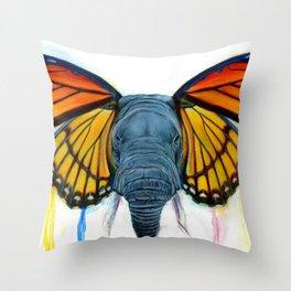 Butterfly Elephant Throw Pillow