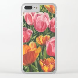 Pink and Yellow Tulips Clear iPhone Case