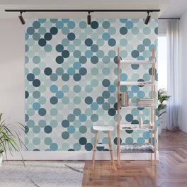 Blue color dots background. Wall Mural