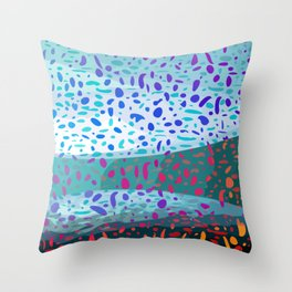 Colored Snow Abstract Digital Painting  Throw Pillow