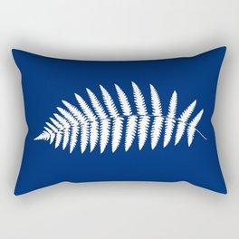 Woodland Fern Pattern, Cobalt Blue and White Rectangular Pillow