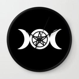 Goddess and Pentacle Symbols - White on Black Wall Clock