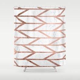 Modern faux rose gold herringbone chevron pattern Shower Curtain