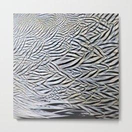 Silver Pheasant Feather Detail Metal Print