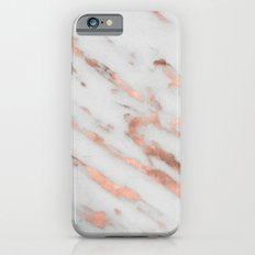 Marble - Rose Gold Marble with White Gold Foil Pattern iPhone Case and Throw Pillow Design iPhone 6 Slim Case