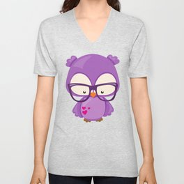 Valentine's Day Owl, Purple Owl, Glasses, Hearts Unisex V-Neck