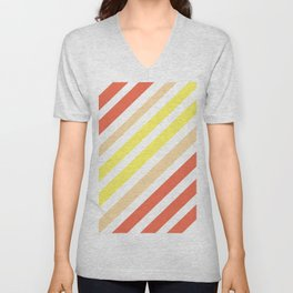 Red Yellow Lines Unisex V-Neck