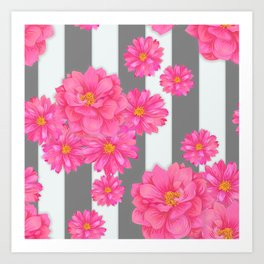 Flower Candy Stripe - Gray Art Print