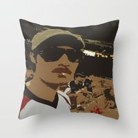 boyfriend Throw Pillows featuring Hey Boyfriend by Carsick T-Rex
