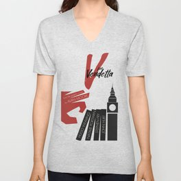 V fo r vendetta, minimal movie poster, Natalie Portman, Stephen Fry, film based on the graphic n Unisex V-Neck