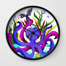 Octopus illustration Wall Clock