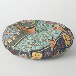bohemian folk art orange aqua blue japanese good luck koi fish Floor Pillow