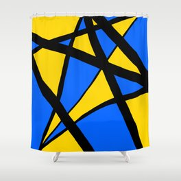 Yellow and Blue Triangles Abstract Shower Curtain
