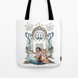 Every Girl Is A Princess 03: Arabian Nights Art Nouveau Aladdin's Princess Jasmine and Rajah Tote Bag
