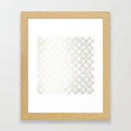 Simply Mod Diamond White Gold Sands on White Framed Art Print