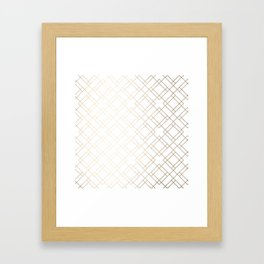 Simply Mod Diamond White Gold Sands on White Framed Art Print