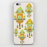 wall clock iPhone & iPod Skins featuring Clock Wall by Leanne Oughton
