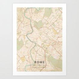 Rome, Italy - Vintage Map Art Print