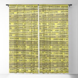 AWESOME, use caution / 3D render of awesome warning tape Sheer Curtain
