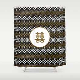 Double Happiness Symbol on Endless Knot pattern Shower Curtain